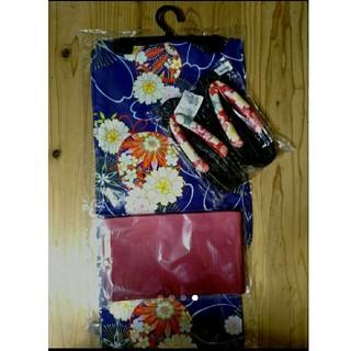 浴衣 3点セット 下駄 帯 紫 赤 毬 レディース 大正レトロ 女性 古典(浴衣)