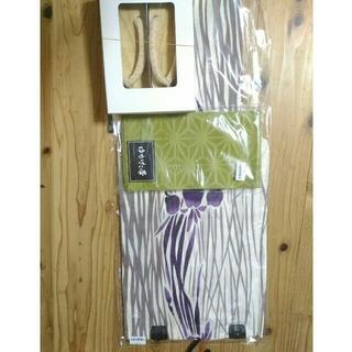 綿絽 高級 浴衣 3点セット 下駄 帯 菖蒲 紫 白 レディース 大正レトロ(浴衣)