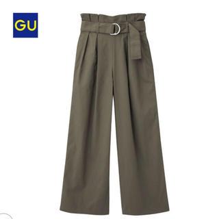 GU - GU ベルト付きハイウエストワイドパンツ