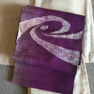渦巻き 貝紫色? 紬の帯(帯)