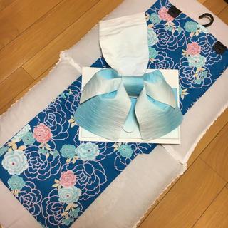 浴衣セット 2点セット 綿浴衣と作り帯タレ 小袋帯(浴衣)