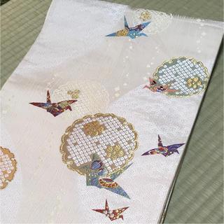 新品未使用 正絹 袋帯 六通 折鶴 雪輪 縁起文様 金糸(帯)