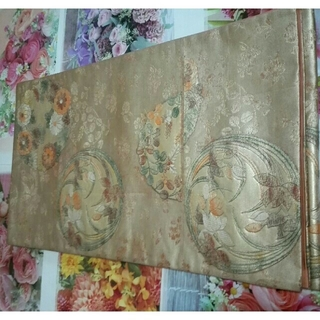 正絹、渋金箔、能衣花丸紋、袋帯(帯)