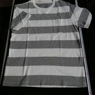 ムジルシリョウヒン(MUJI (無印良品))の無印良品 オーガニックコットン クルーネック半袖 Tシャツ 白×ライトグレー L(Tシャツ/カットソー(半袖/袖なし))