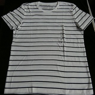 MUJI (無印良品) - 無印良品 オーガニックコットン クルーネック半袖Tシャツ 白×細黒ボーダー婦人М
