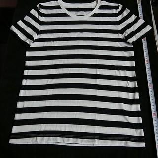MUJI (無印良品) - 無印良品 オーガニックコットン クルーネック半袖 Tシャツ 白×黒ボーダー婦人М