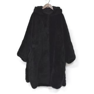 アクネ(ACNE)の定価23万 Acne Studios アクネ ファー フーデッド コート 黒36(毛皮/ファーコート)