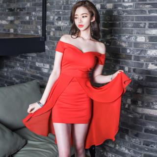 キャバドレス レディース 赤色 ドレス ミニワンピース (ミニドレス)