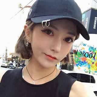 黒 リングキャップ / 韓国ファッション メンズ レディース 兼用 (キャップ)