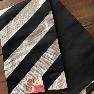 半幅帯 小袋帯 シルバー/黒のストライプ +黒地に黒ドット(帯)