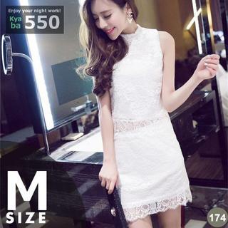 キャバドレス 174W 白 ブラック 膝丈 ノースリーブ ドレス M-L(ミディアムドレス)