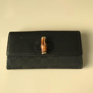 グッチ(Gucci)のグッチ バンブー GGキャンバス 二つ折り 長財布 ブラック(長財布)