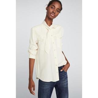 ザラ(ZARA)の新品未使用 ZARA ホワイト リボン  シャツ(シャツ/ブラウス(長袖/七分))
