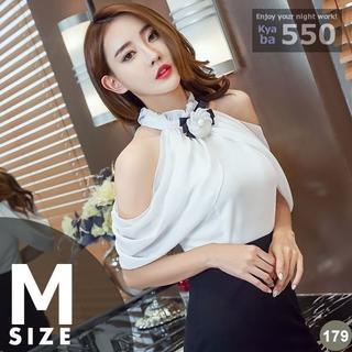 キャバドレス 179B 白黒 ボディコン ミニ バイカラー シフォン S-M-L(ミニドレス)