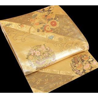 292 正絹 袋帯 金色糸彩箔 織り刺繍 六通(帯)