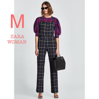ザラ(ZARA)の新品未使用  ZARA WOMAN チェック柄 ワイドパンツ オーバーオール M(サロペット/オーバーオール)