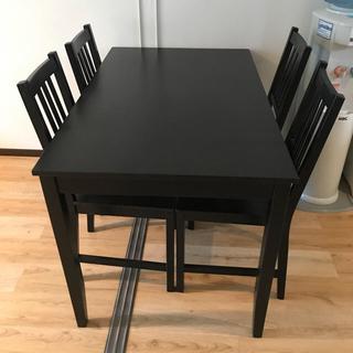 イケア(IKEA)のイケア、ダイニングテーブルセット、ブラック(ダイニングテーブル)
