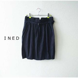 イネド(INED)のイネド★ウエストベルト付きギャザースカート 紺 9号 上品 膝丈(ひざ丈スカート)
