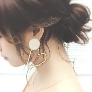 ファー♡不規則ハート(ピアス)