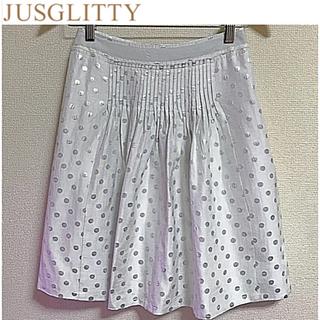 ジャスグリッティー(JUSGLITTY)のJUSGLITTY ドットプリントフレアスカート シルバー 1(ひざ丈スカート)