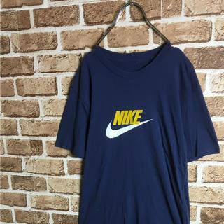 ナイキ(NIKE)のビッグスウォッシュ! 90s NIKE デカロゴ Tシャツ ネイビー 紺白黄色(Tシャツ/カットソー(半袖/袖なし))