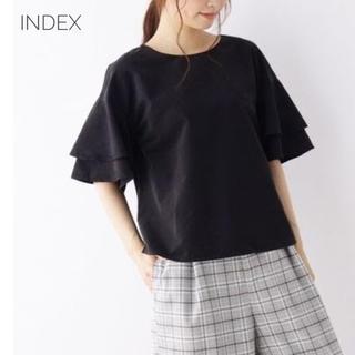 インデックス(INDEX)のindex 微起毛ティアードフレアブラウス 黒(シャツ/ブラウス(半袖/袖なし))
