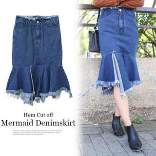 ルシェルブルー(LE CIEL BLEU)のデニムマーメイドスカート(ひざ丈スカート)