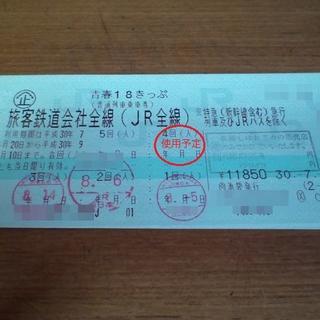 ジェイアール(JR)の青春18きっぷ1回分(青春18切符)残り 1回 7/6以前購入(鉄道乗車券)