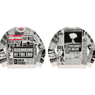 Supreme - 最安値 ホワイト M Newsprint Sweater