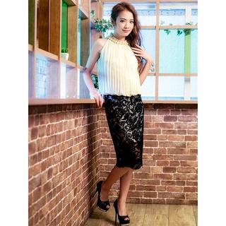 デイジーストア(dazzy store)のネックレスモチーフ付アメスリ風異素材ドッキングタイトミニドレス(ミディアムドレス)