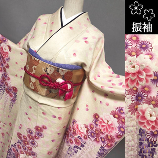 新品【振袖☆蘇州刺繍】ホワイト×ピンク トールサイズ(振袖)