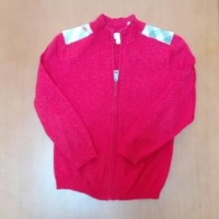 バーバリー(BURBERRY)のバーバリー チェック 女の子 赤 カーディガン チャック セーター キッズ110(カーディガン)