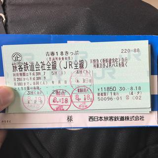 ジェイアール(JR)の青春18きっぷ 1回 即購入可(鉄道乗車券)