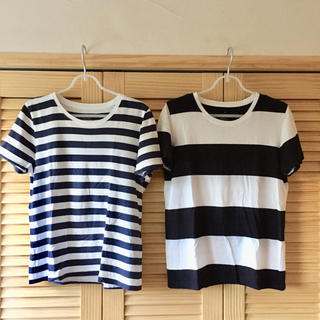 MUJI (無印良品) - 無印良品 ボーダーTシャツ Lサイズ2点セット