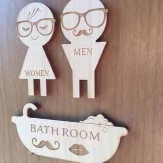木製 トイレマーク バスルームサイン セット(トイレマット)
