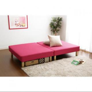 新品★分割できるシングルマットレスベッド(ピンク)送料無料