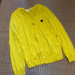 アロー(ARROW)のARROW 黒猫刺繍の黄色いカーディガン (カーディガン)