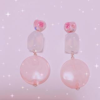 sweet❥ハート pink イヤリング