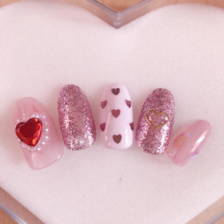 ネイルチップ ジェルネイル ゆめかわ ネイル ゆめかわいい ピンク ハート