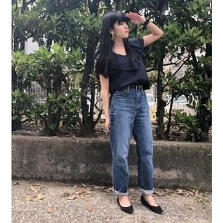 ジーユー(GU)のGU シアーチェックブラウス ネイビー XL(シャツ/ブラウス(半袖/袖なし))