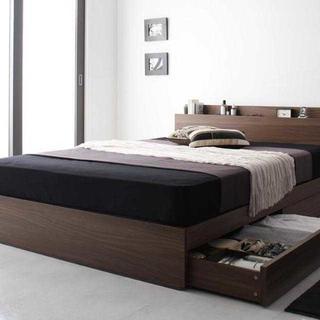 最安 棚・コンセント・マットレス付き収納ベッド シングル
