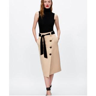 ZARA - 《完売品♡》トレンチ スカート ベージュ ベルト リボン