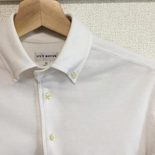 ギローバー(GUY ROVER)の美品【 GUY ROVER 】半袖 台襟ポロシャツ イタリア製 ホワイト(ポロシャツ)