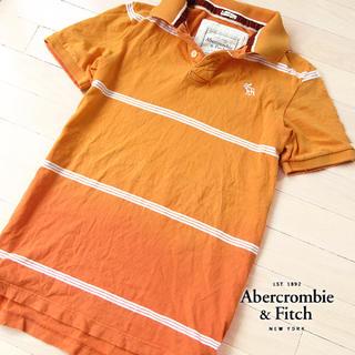 アバクロンビーアンドフィッチ(Abercrombie&Fitch)の美品 Mサイズ アバクロ メンズ 半袖ポロシャツ オレンジ(ポロシャツ)