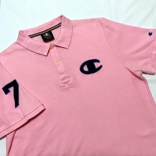 チャンピオン(Champion)のチャンピオン ポロシャツ ピンク 紺 ビッグロゴ Lサイズ(ポロシャツ)