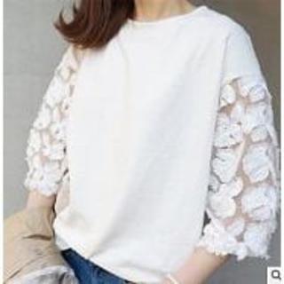 【Sale】レース 刺繍 ブラウス /七分袖 / カットソー/ XLサイズ