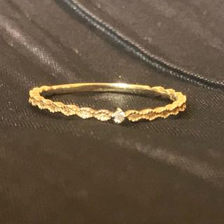 シエナ SIENA 一粒ダイヤのミル打ちクラシカルリング K10(リング(指輪))