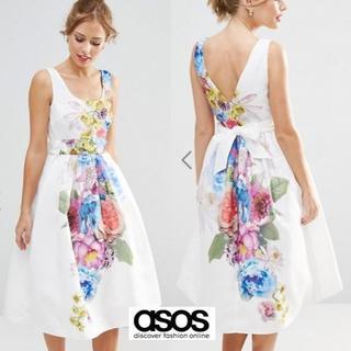 エイソス(asos)のASOS フローラルプリント Aラインワンピース UK6(ミディアムドレス)