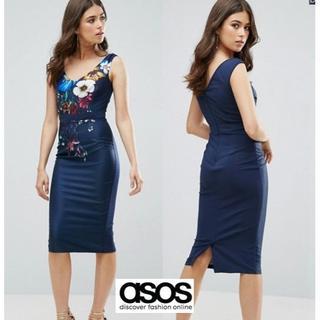 エイソス(asos)のASOS フラワープリントネイビーワンピ UK8(ミディアムドレス)