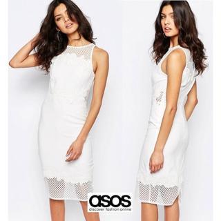 エイソス(asos)のASOS ホワイトメッシュドレス UK10(ミディアムドレス)
